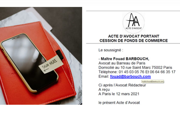 signature électronique acte d'avocat cabinet Fouad Barbouch Avocat