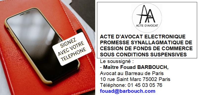 Fonds de commerce signature électronique par téléphone de votre promesse de vente de fonds de commerce